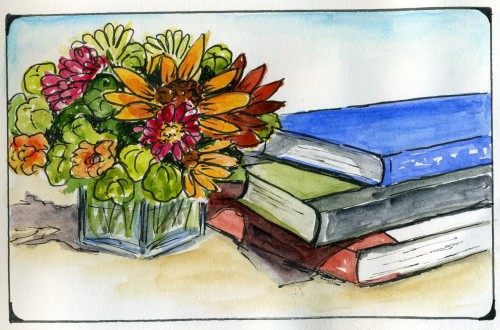 Watercolor Flower Art: Bouquet and books from my watercolor flower journal-myflowerjournal.com