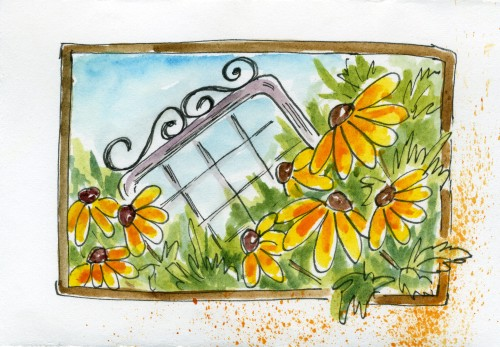 Watercolor Flower Art:Black Eyed Susans and Garden Gate in my watercolor flower journal-myflowerjournal.com