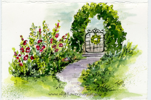 Watercolor Flower Art: Hollyhock Path in my watercolor flowerjournal-myflowerjournal.com