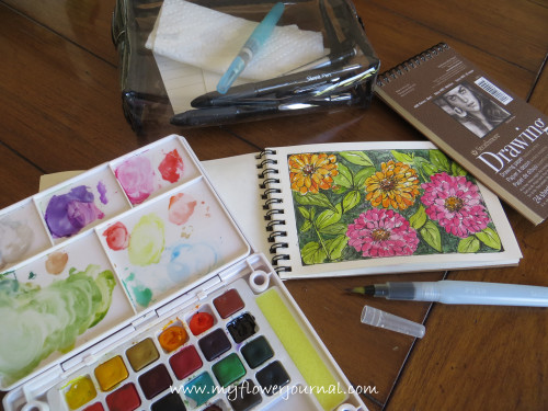Watercolor travel kit and watercolor travel journal-from myflowerjournal.com