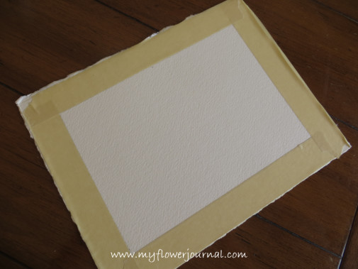 5x7 inch rectangle with masked border on 300 lb paper for splatterd paint flower garden painting-myflowerjournal.com