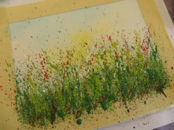 How to splatter paint for splattered paint flower art.-myflowerjournal.com