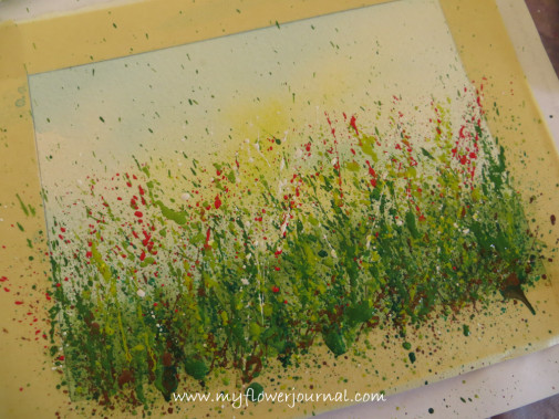 Final layer of splattered paint for splatterd paint flower garden-myflowerjournal.com