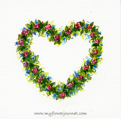 Simple Watercolor Flower Wreath Painting-myflowerjournal.com