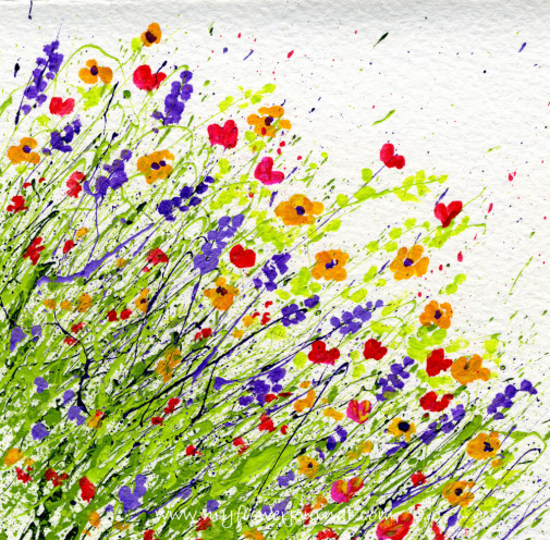 Splattered Paint Card on watercolor paper from myflowerjournal.com