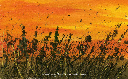 Splattered Paint Flower Art Ideas -Sunset-myflowerjournal.com