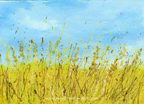 Splattered Paint Flower Art Ideas-Wheat Field-myflowerjournal.com