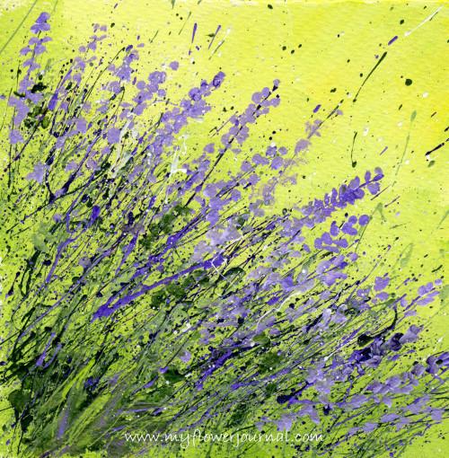 Splattered Paint Flower Art- Lavender Flowers-myflowerjournal.com