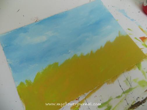 Splattered Paint Flower Art background -Wheat Field-myflowerjournal.com