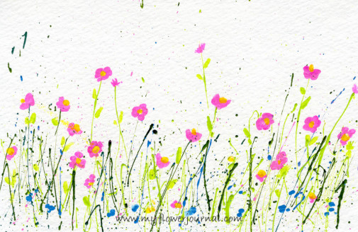Splattered Paint Flowers postcard-myflowerjournal