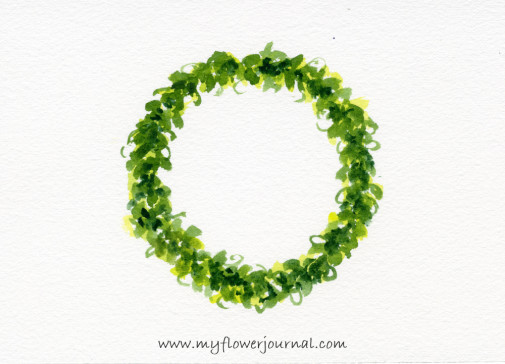 Simple Round Watercolor Flower Wreath Painting-myflowerjournal.com