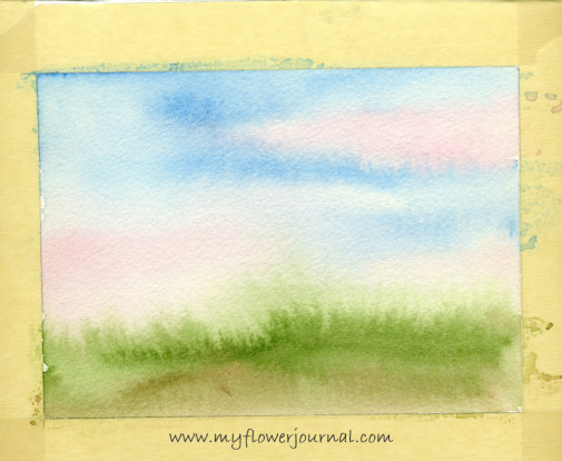 Watercolor background on 300 lb paper for splattered paint flower garden-1-myflowerjournal.com