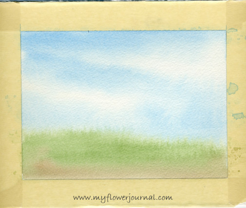 Watercolor background on 300 lb paper for splattered paint flower garden-2-myflowerjournal.com