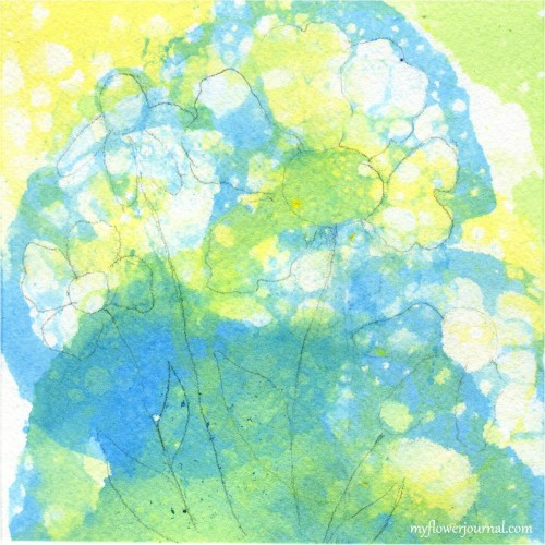 How To Do Bubble Painting Flower Art-Look for flower designs and outline in pencil-myflowerjournal.com