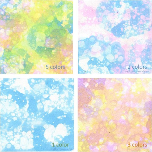 Tutorial shows different color combinations of bubble painting-use for flower art, journal pages, cards, wrapping paper etc-myflowerjournal.com