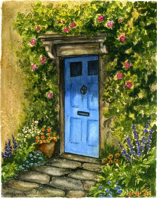 English Countryside Charm-a Watecolor inspired by a photo taken on a trip to England-myflowerjournal