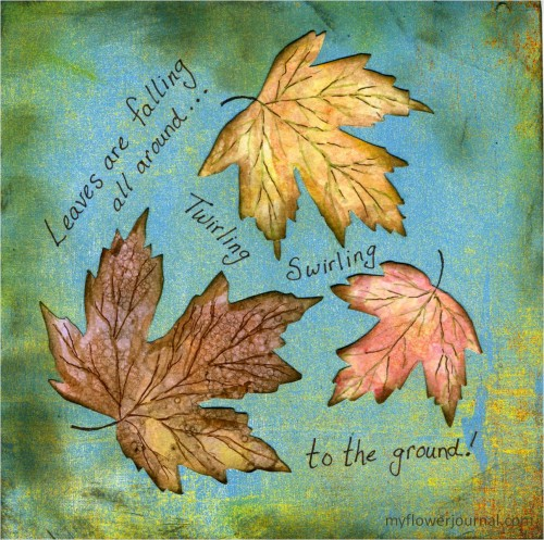 Fall Botanical Bubble Art Tutorial-Falling Leaves Journal Page-myflowerjournal.com