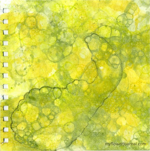 Fall Botanical Bubble Art Tutorial-outline with pencil squash in the bubbles-myflowerjournal