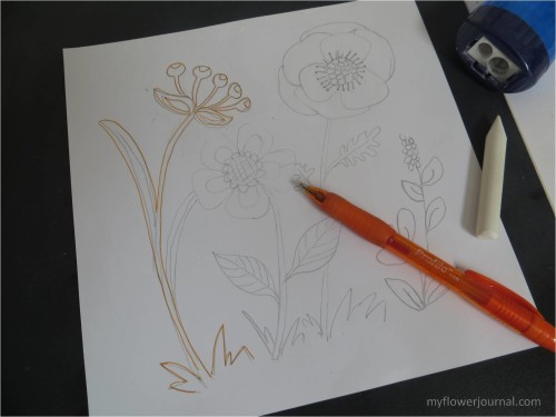 How to transfer design on chalkboard for flower chalk art-myflowerjournal