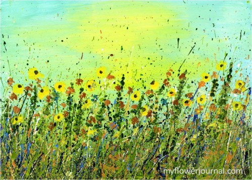 Sunflowers in Field-splattered acrylic paint-myflowerjournal.com