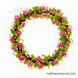 How to Paint a Watercolor Grapevine Wreath with Roses Using Color Swatches-myflowerjournal.com
