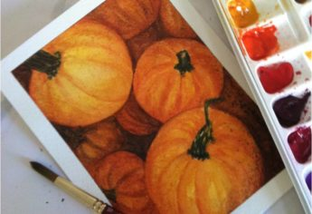 Fall Pumpkins in Watercolor