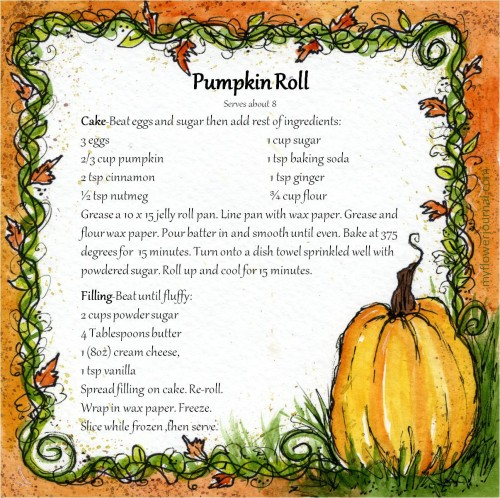 Pumpkin Roll Recipe on Fall Watercolor Journal Page-Free Printable-myflowerjournal.com