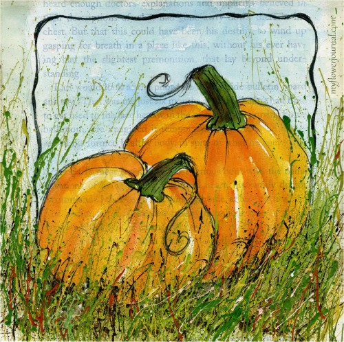 Pumpkins painted in watercolor on gesso on old book pages and splattered with acrylic paint-myflowerjournal