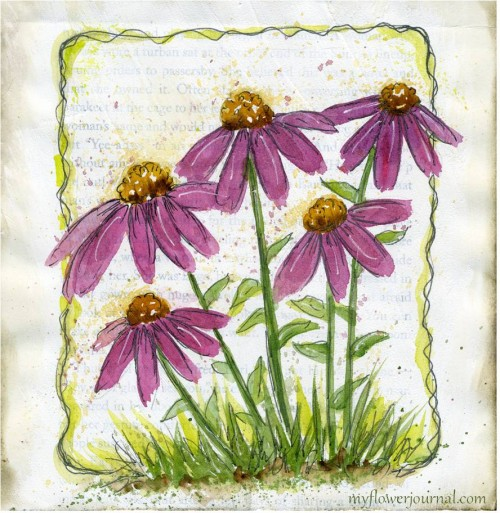 Purple Cone Flowers in Watercolor on Gesso on Old Book Pages-myflowerjournal.com