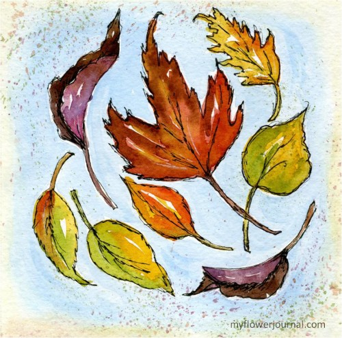 Swirling, Twirling Leaves Fall Watercolor Journal Page-myflowerjournal.com