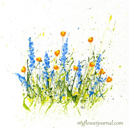Splattered PaintFlowers- Poppies and Delphiniums-myflowerjournal.com