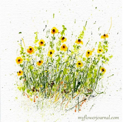 Splattered Paint Sunflowers on Watercolor Paper-myflowerjournal.com