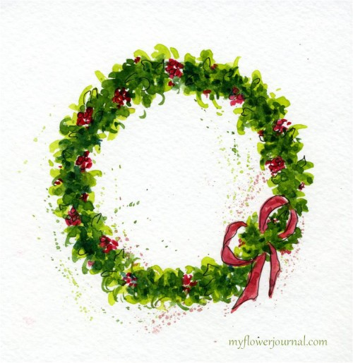 Paint A Watercolor Christmas Wreath-myflowerjournal