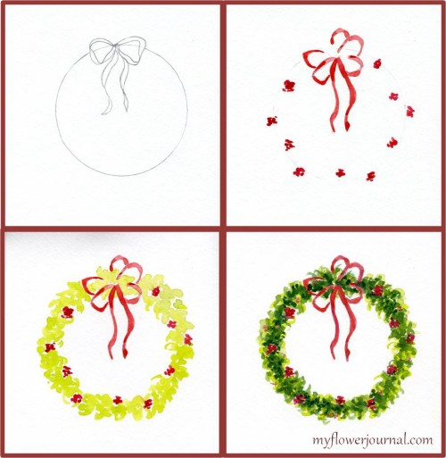 Steps to paint a watercolor Christmas wreath-myflowerjournal