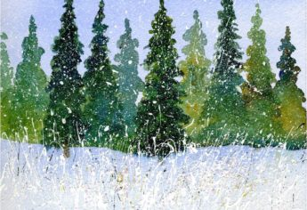 Winter Watercolor With Splattered Acrylic Paint