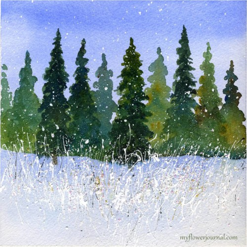 Winter Wondrland Watercolor with Splattered Acylic Paint-myflowerjournal