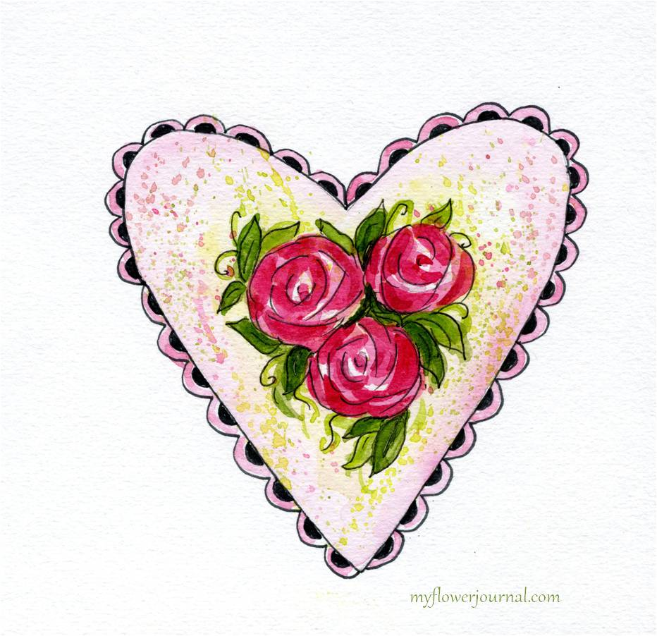 Watercolor hearts and roses my flower journal mightylinksfo