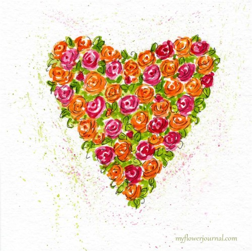 Painting Watercolor Hearts and Roses-myflowerjournal.com