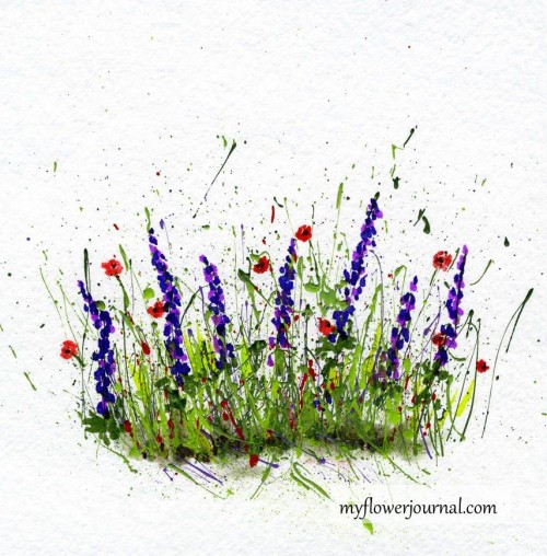 Add flowers to a splattered paint background with markers-myflowerjournal