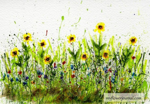 Splattered Paint Background with wildflowers added with markers-myflowerjournal