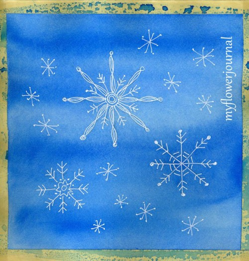 Drawing Snowflake Doodles on Watercolor Background-fun art project for all ages-myflowerjournal.com
