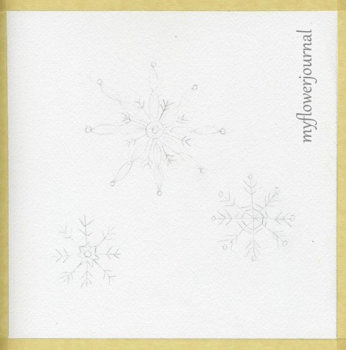 Pencil Snowflake Doodle Art on Watercolor Paper ready for Watercolor Wash and White gel pen-myflowerjournal.com