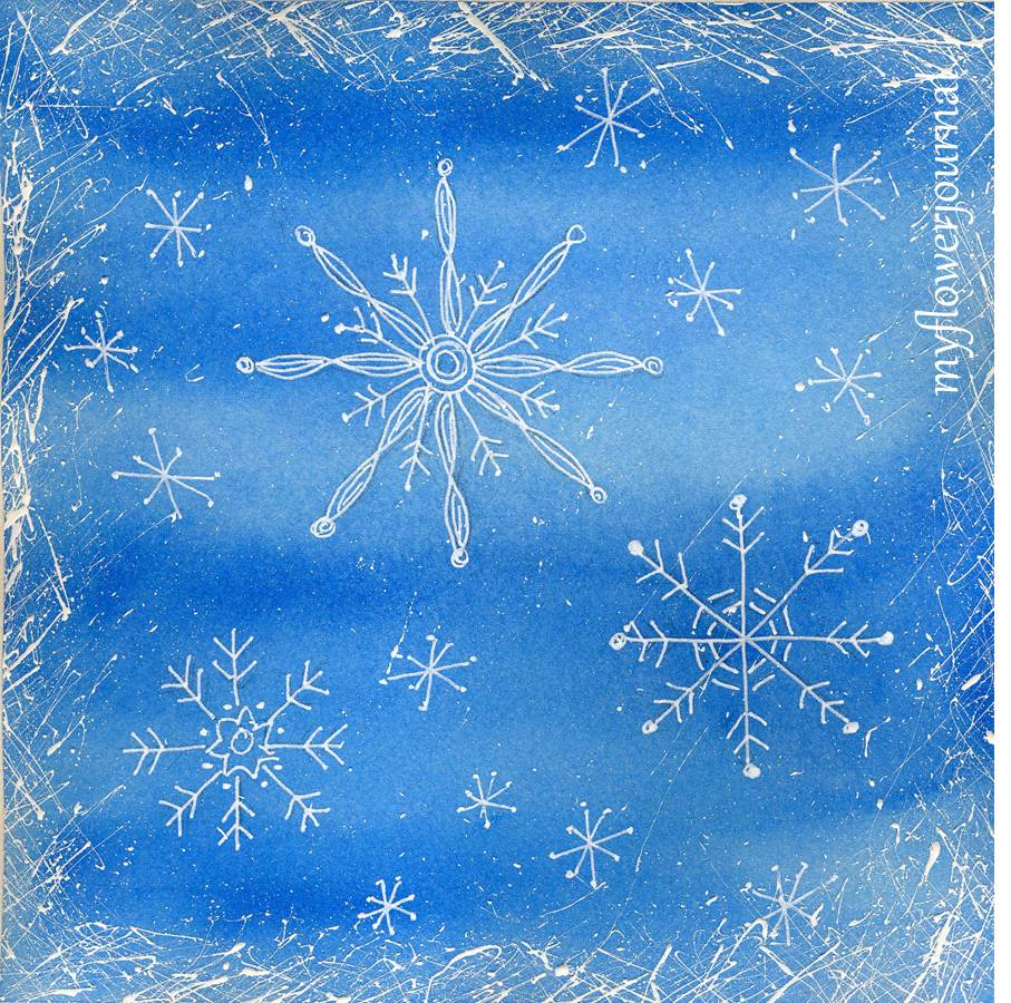 Snowflake doodles on a watercolor background my flower for Background painting ideas
