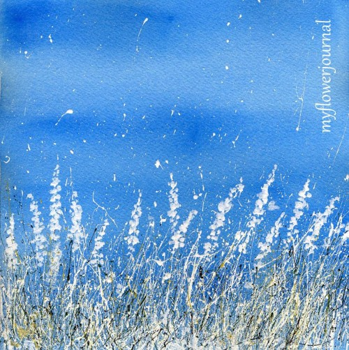 Snowy landscape with splattered paint on a watercolor background -myflowerjournal.com
