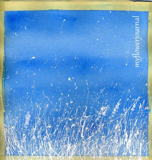 Snowy Landscape Splattered Paint Art in Progress-myflowerjournal.com