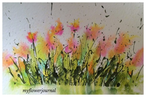 Splattered Acrylic paint foliage with flowers created with Tombow Markers sprayed with water for a fun summerart activity-myflowerjournal