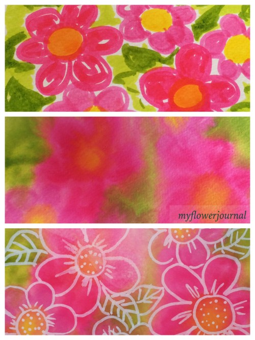Step by step Tombow Markers spayed with water for background with flower doodles on top for a fun summer art activity-myflowerjournal.com