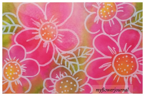 Tombow Markers spayed with water for background with flower doodles on top -a fun summer art activity-myflowerjournal.com