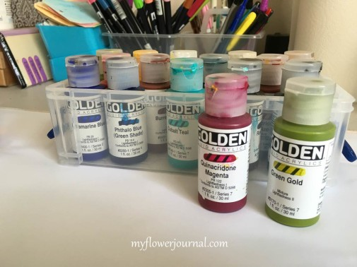 Golden Fluid Acrylic Paints work well for Splatter Painting-myflowerjournal