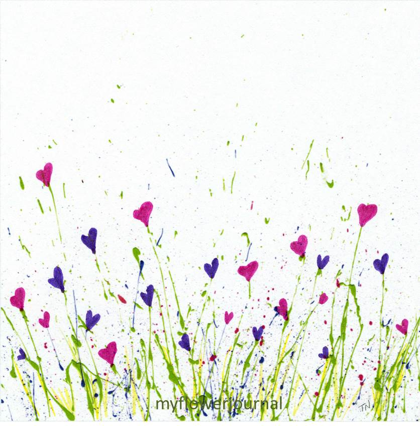 Free printable for splattered paint flower art my flower for Easy way to paint flowers